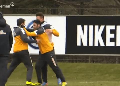Werder Bremen stars show strain of relegation battle with petulant training ground brawl