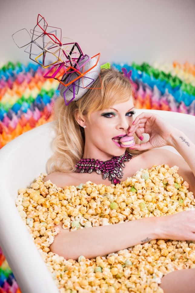 Sugar coated: A popcorn-filled bath is just one of the tasty treats on offer at the cake hotel