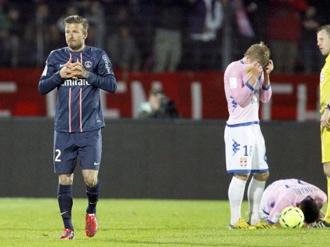 David Beckham gets sent off for PSG in stormy clash at Evian – video