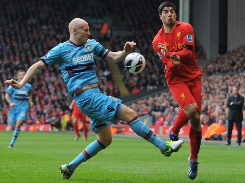 West Ham's James Collins was wary of Luis Suarez 'going over' during Anfield draw