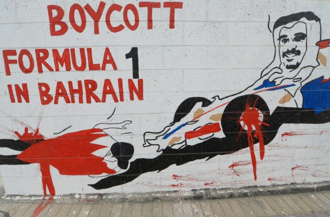epa03651731 An anti Formula One graffiti is seen on the streets of Barbar village, dubbed by protesters as the 'capital of revolutionary art', north of Manama, Bahrain, 06 April 2013. Bahrain is set to host the fourth race of the Formula One world championship on 21 April 2013. Formula One supremo Bernie Ecclestone told reporters on 05 April 2013 that he had no concerns about Bahrain hosting the race.  EPA/MAZEN MAHDI