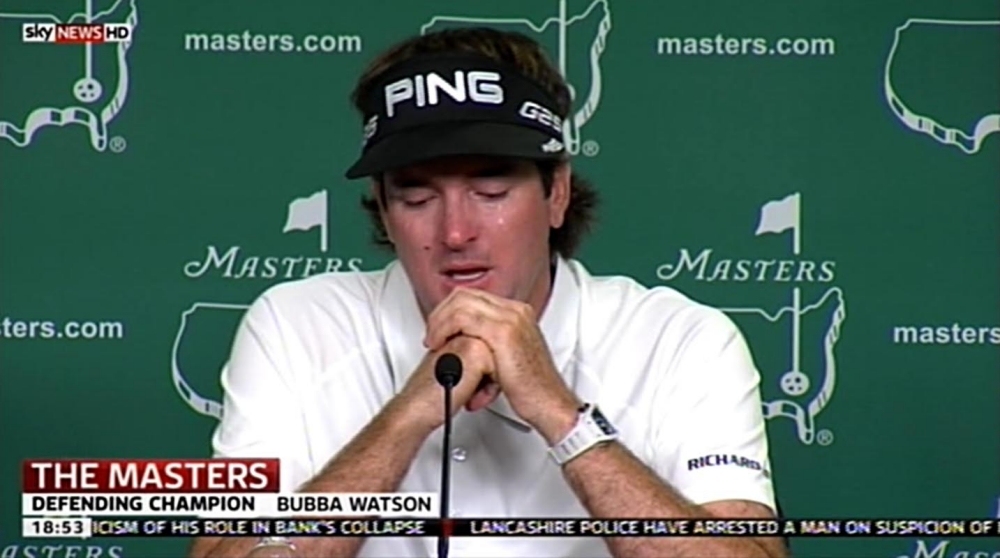The Masters: Bubba Watson breaks down in tears as he recalls wrapping his baby son in green jacket