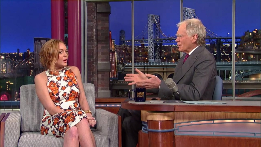 Lindsay Lohan squirms through awkward David Letterman interview as he grills her on rehab