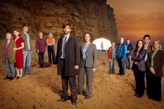 NEW SERIES BROADCHURCH FOR ITV Broadchurch is a new eight part drama series by Kudos Film and Television for ITV. The star-studded cast includes David Tennant, Olivia Colman, Andrew Buchan, Jodie Whittaker, Vicky McClure, Pauline Quirke, Will Mellor, Arthur Darvill and Carolyn Pickles. This brand new eight part series is written and created by Chris Chibnall (Law and Order: UK, Doctor Who) and will explore what happens to a small community in Dorset when it suddenly becomes the focus of a police investigation, following the tragic and mysterious death of an eleven year old boy under the glare of the media spotlight. Bloodied and dirty, Danny Latimer (Oskar McNamara) has been found dead on an idyllic beach surrounded by rocks and a jutting cliff-face from where he may have fallen. Whilst his death remains unresolved, the picturesque seaside town of Broadchurch is at the heart of a major police investigation and a national media frenzy. Pictured  L-R: CHARLOTTE BEAUMONT as Chloe Latimer, JODIE WHITTAKER as Beth Latimer, ANDREW BUCAHN as Mark Latimer, PAULINE QUIRKE as Susan Wright, SIMONE McAULEY as Becca Fisher, DAVID TENNANT as Alec Hardy, OLIVIA COLMAN as Ellie Miller, ADAM WILSON as Tom Miller, MATTHEW GRAVELLE as Joe Miller, WILL MELLOR as Steve Connelly, VICKY McCLURE as Karen White, JONATHAN BAILEY as Olly Stevens and CAROLYN PICKLES as Maggie Radcliffe. Copyright: ITV This photograph is (C) ITV Plc and can only be reproduced for editorial purposes directly in connection with the programme or event mentioned above, or ITV plc. Once made available by ITV plc Picture Desk, this photograph can be reproduced once only up until the transmission [TX] date and no reproduction fee will be charged. Any subsequent usage may incur a fee. This photograph must not be manipulated [excluding basic cropping] in a manner which alters the visual appearance of the person photographed deemed detrimental or inappropriate by ITV plc Picture Desk.  This photograph must not be