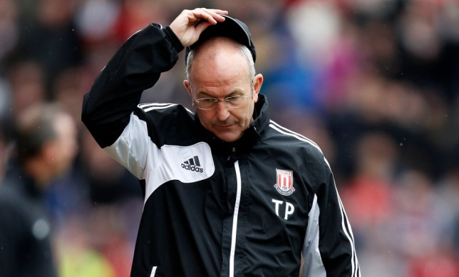 Stoke City manager Tony Pulis reacts after his side gave the ball away against Manchester United during the Barclays Premier League match at the Britannia Stadium, Stoke-on-Trent. PRESS ASSOCIATION Photo. Picture date: Sunday April 14, 2013. See PA story SOCCER Stoke. Photo credit should read: Dave Thompson/PA Wire. RESTRICTIONS: Editorial use only. Maximum 45 images during a match. No video emulation or promotion as 'live'. No use in games, competitions, merchandise, betting or single club/player services. No use with unofficial audio, video, data, fixtures or club/league logos.