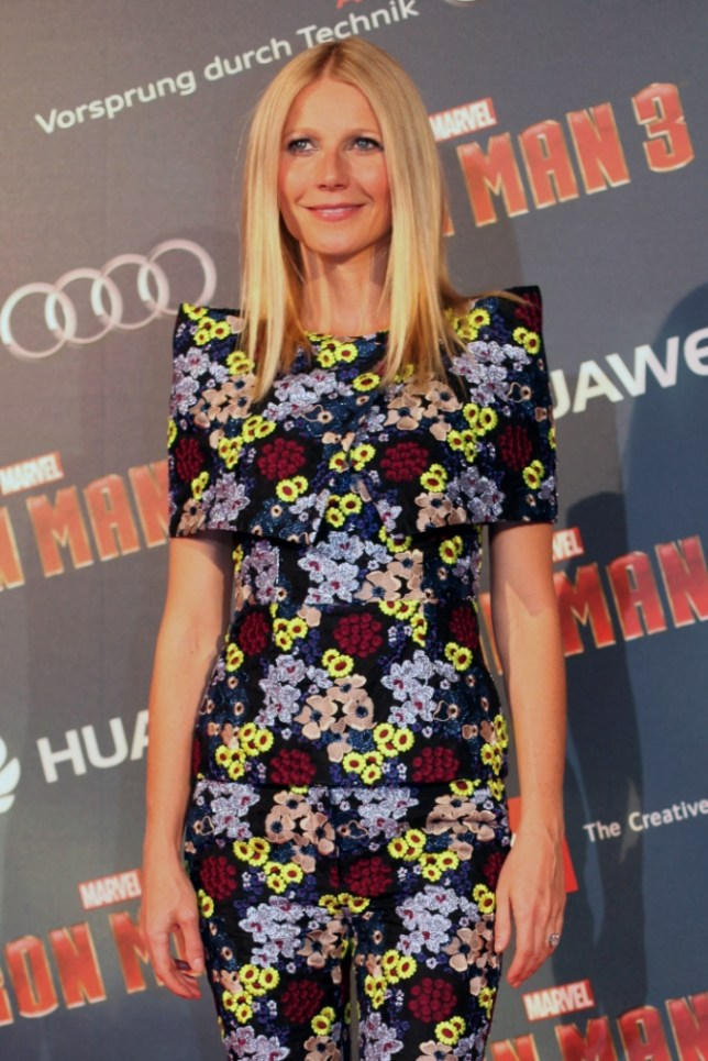 U.S actress Gwyneth Paltrow poses for photographers during the Iron Man 3 premiere, in Paris, Sunday April 14, 2013. (AP Photo/Thibault Camus)