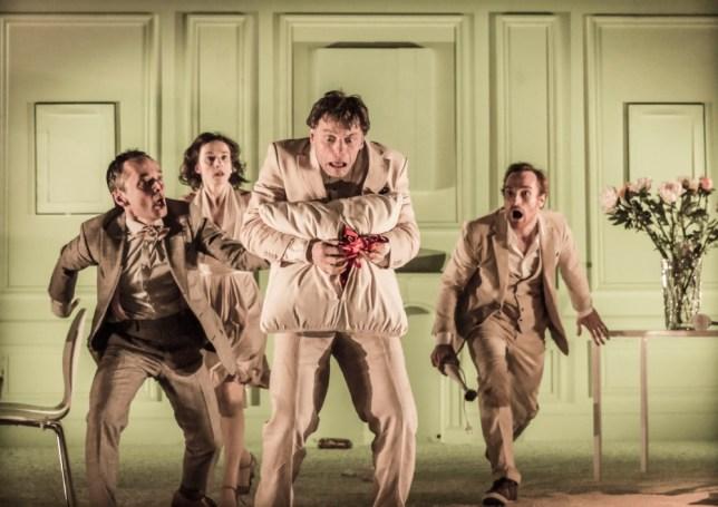 Christophe Grégoire (centre) plays Ubu in Declan Donnellan's Ubu Roi (Picture: Johan Persson)