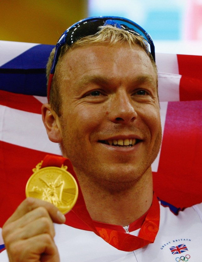 BEIJING - AUGUST 19:  Chris Hoy of Great Britain celebrates the gold medal after defeating Jason Kenny of Great Britain in the Men's Sprint Finals in the track cycling event at the Laoshan Velodrome on Day 11 of the Beijing 2008 Olympic Games on August 19, 2008 in Beijing, China.  (Photo by Quinn Rooney/Getty Images)