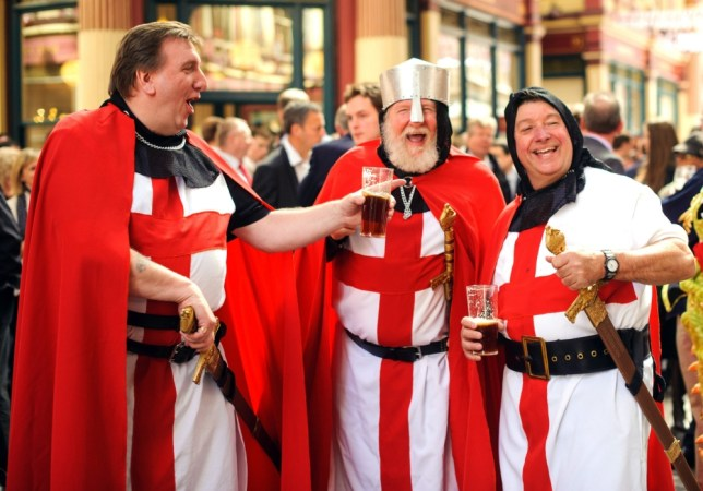 (left to right) Glen Wright, Jeff Edwards and Ray Horn enjoy a pint during St George's Day celebrations in Leadenhall Market, in the City financial district of London. PRESS ASSOCIATION Photo. Picture date: Tuesday April 23, 2013. Photo credit should read: Dominic Lipinski/PA Wire