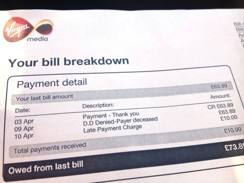 From the cable to the grave: Virgin Media charges dead man for late payment but bill goes viral on Facebook
