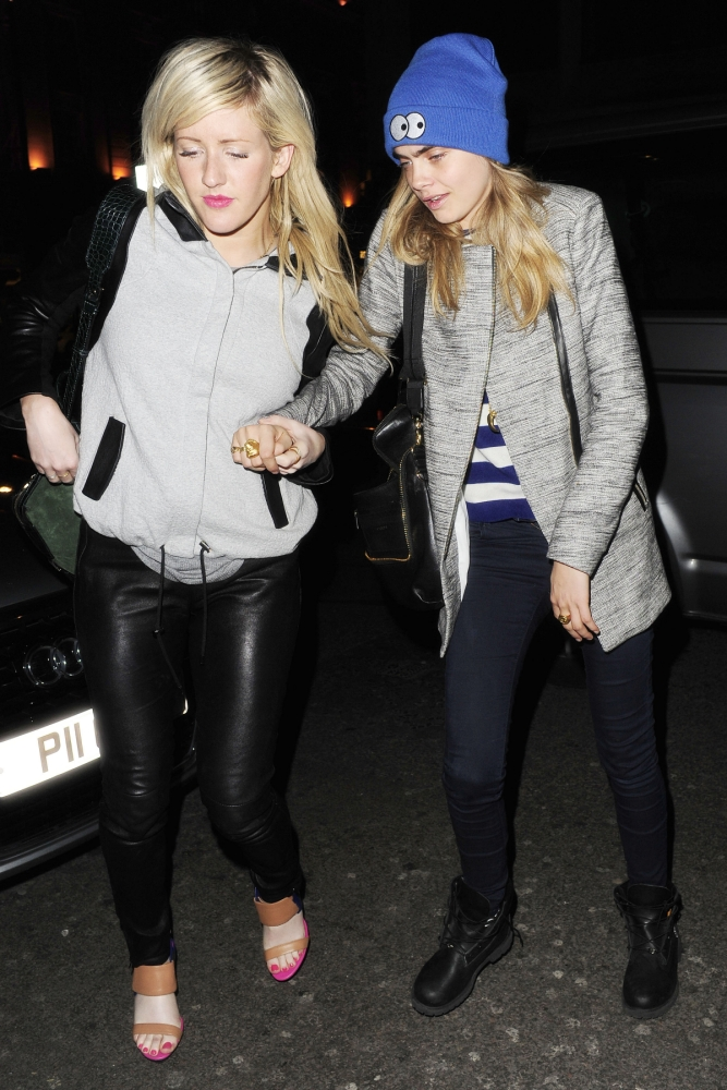 30 Apr 2013 - LONDON - UK  *** STRICTLY NO DAILY MAIL ONLINE UNLESS FEE AGREED PRIOR TO USAGE ***  RITA ORA, CARA DELEVINGNE AND ELLIE GOULDING PICTURED ON A GIRLS NIGHT OUT AT THE NEWLY REFURBISHED MAHIKI IN MAYFAIR. ELLIE MADE SURE SHE HELD UP A SLIGHTLY WOBBLY CARA WHILST RITA LED THE WAY BOTH INTO (1am) AND OUT OF THE BUILDING AT 3.30am  BYLINE MUST READ : XPOSUREPHOTOS.COM  ***UK CLIENTS - PICTURES CONTAINING CHILDREN PLEASE PIXELATE FACE PRIOR TO PUBLICATION ***  **UK CLIENTS MUST CALL PRIOR TO TV OR ONLINE USAGE PLEASE TELEPHONE 44 208 370 0291**