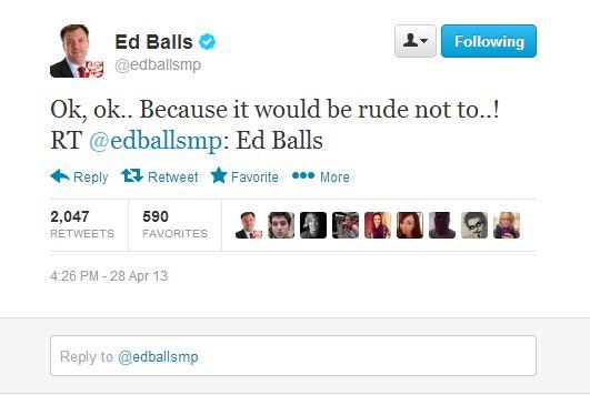 Ed Balls marks Ed Balls day by tweeting 'Ed Balls'