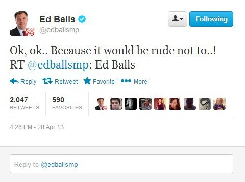 'Ed Balls day' goes meta as shadow chancellor and wife Yvette Cooper tweet 'Ed Balls'