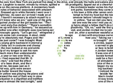 Every word of The Great Gatsby compressed onto one poster