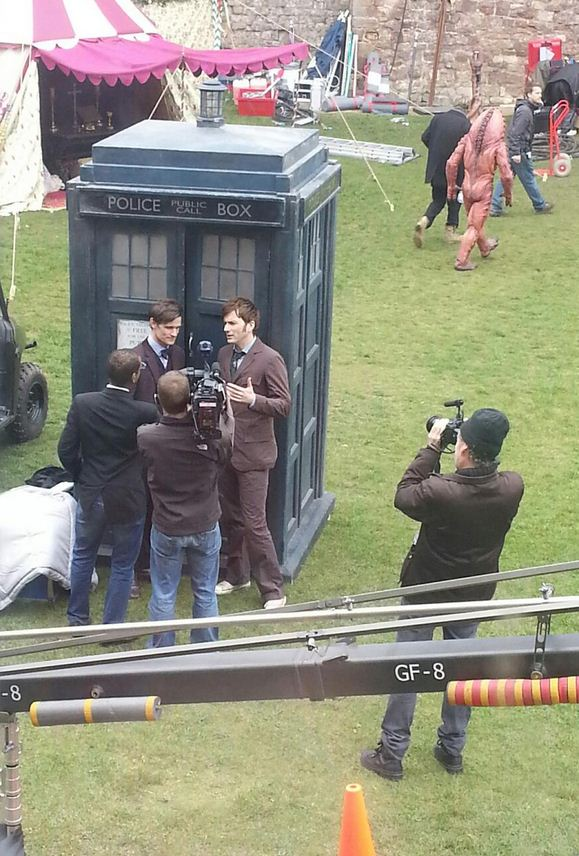 David Tennant pictured filming Doctor Who with Matt Smith and the Tardis