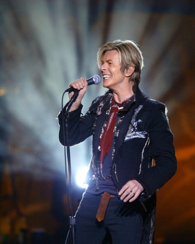 David Bowie performs at Rexall Place in Edmonton, Alta., Friday April 9, 2004. (AP Photo/Darryl Dyck) EDMONTON OUT; ONLINE OUT