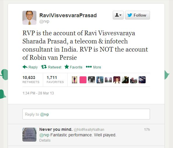 Not the real @RVP: Indian telecoms consultant denies being Robin Van Persie after Twitter mix-up