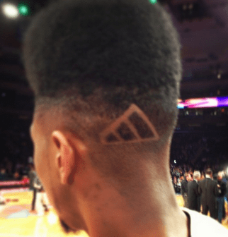 Hair raising: Shumpert and the offending adidas logo (Picture: Twitter)