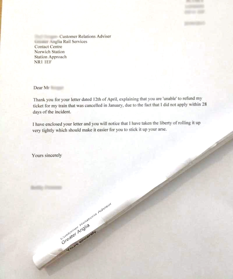 Disgruntled train passenger's letter tells Greater Anglia exactly where to stick it