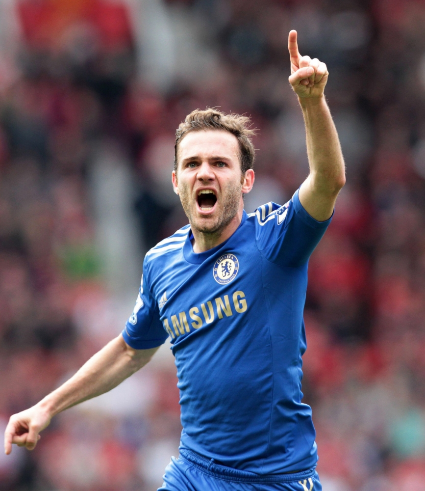 epa03688686 Chelsea's Juan Mata celebrates after scoring the 1-0 lead during the English Premier League soccer match between Manchester United and Chelsea FC at Old Trafford in Manchester, Britain, 05 May 2013.  EPA/LINDSEY PARNABY DataCo terms and conditions apply https://www.epa.eu/downloads/DataCo-TCs.pdf