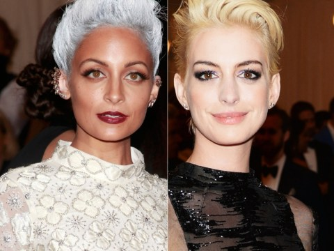 Anne Hathaway undergoes style transformation with bleached blonde hairdo for 2013 Met Ball – while Nicole Richie opts for scary silver locks