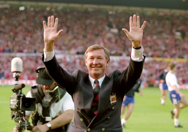 May 1993:  Manchester United Manager Alex Ferguson celebrates his team becoming Premier League Champions after a match against Blackburn Rovers at Old Trafford in Manchester, England.  Mandatory Credit: David  Cannon/Allsport