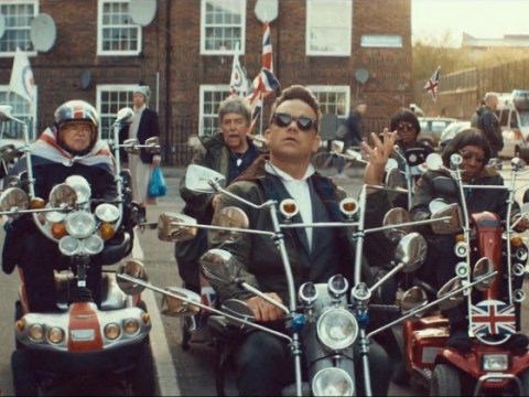 Robbie Williams and Dizzee Rascal take to mobility scooters as Goin' Crazy video is unveiled