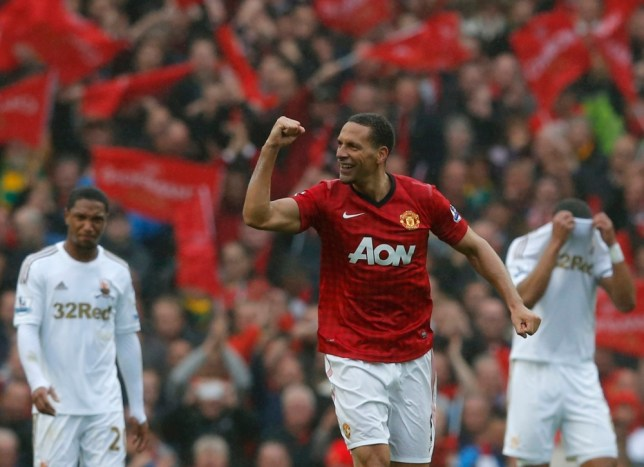 Manchester United's Rio Ferdinand celebrates his game-winning goal against Swansea City during the English Premier League soccer match at Old Trafford stadium in Manchester, northern England May 12, 2013.  REUTERS/Phil Noble (BRITAIN  - Tags: SPORT SOCCER) FOR EDITORIAL USE ONLY. NOT FOR SALE FOR MARKETING OR ADVERTISING CAMPAIGNS. EDITORIAL USE ONLY. NO USE WITH UNAUTHORIZED AUDIO, VIDEO, DATA, FIXTURE LISTS, CLUB/LEAGUE LOGOS OR 'LIVE' SERVICES. ONLINE IN-MATCH USE LIMITED TO 45 IMAGES, NO VIDEO EMULATION. NO USE IN BETTING, GAMES OR SINGLE CLUB/LEAGUE/PLAYER PUBLICATIONS.