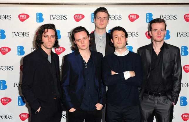 Orlando Weeks, Felix White, Rupert Jarvis, Hugo White, Sam Doyle and Robert Dylan Thomas of The Maccabees at the 2013 Ivor Novello awards held at the Grosvenor House Hotel, London. PRESS ASSOCIATION Photo. Picture date: Thursday May 16, 2013. See PA story SHOWBIZ Novello. Photo credit should read: Ian West/PA Wire