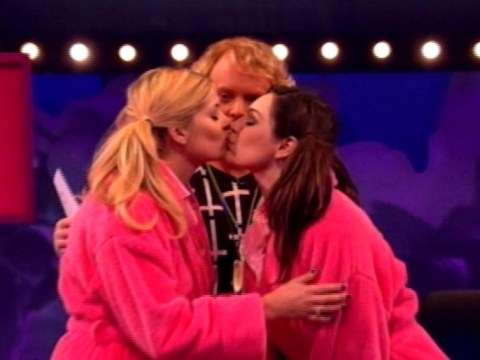 Giving the boys what they want: Kelly Brook and Holly Willoughby finally kiss on Celebrity Juice