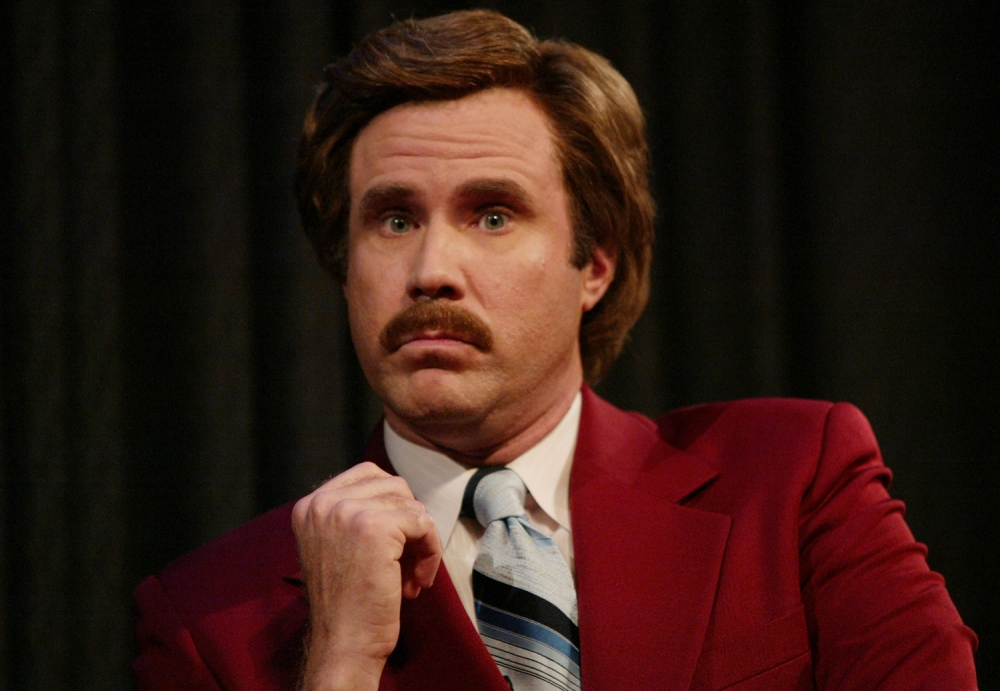 """NEW YORK - JULY 7:  Actor Will Ferrell aka Ron Burgundy participates in Q&A after a special screening of the film """"Anchorman: The Legend of Ron Burgundy"""" at the Museum of Television and Radio July 7, 2004 in New York City. (Photo by Evan Agostini/Getty Images)"""