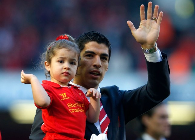 "Liverpool's Luis Suarez carries his daughter around the pitch following their English Premier League soccer match against Queens Park Rangers at Anfield in Liverpool, northern England May 19 , 2013. REUTERS/Phil Noble (BRITAIN - Tags: SPORT SOCCER) FOR EDITORIAL USE ONLY. NOT FOR SALE FOR MARKETING OR ADVERTISING CAMPAIGNS. NO USE WITH UNAUTHORIZED AUDIO, VIDEO, DATA, FIXTURE LISTS, CLUB/LEAGUE LOGOS OR ""LIVE"" SERVICES. ONLINE IN-MATCH USE LIMITED TO 45 IMAGES, NO VIDEO EMULATION. NO USE IN BETTING, GAMES OR SINGLE CLUB/LEAGUE/PLAYER PUBLICATIONS"