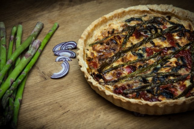 Asparagus and goat's cheese quiche.The trick to a good quiche is the pastry (Picture: Oli Jones)