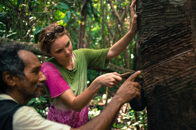 Lily Cole visits a wild rubber-farming project in Brazil (Picture: Sky Rainforest Rescue)