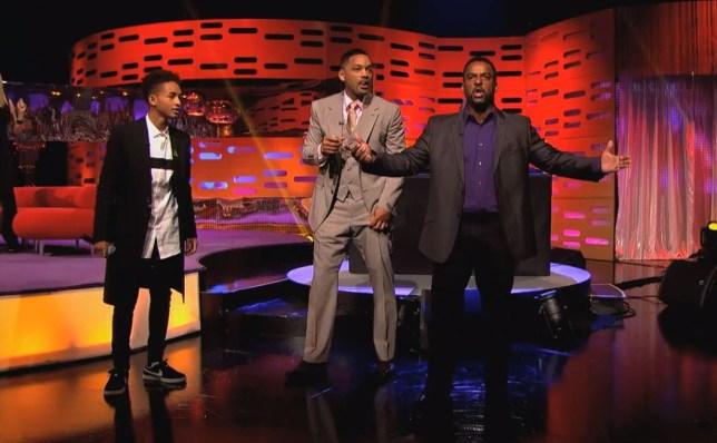 Alfonso Ribeiro AKA Carlton, Will Smith and Jaden Smith on Graham Norton Show doing Fresh Prince of Bel Air