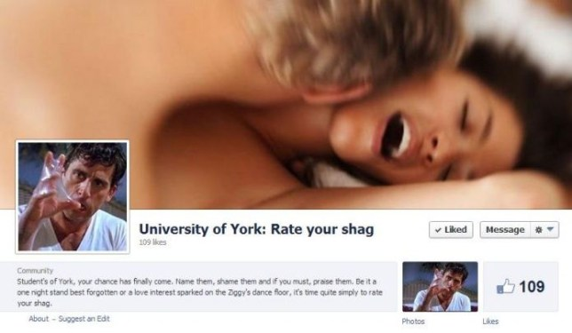Rate My Shag Facebook page