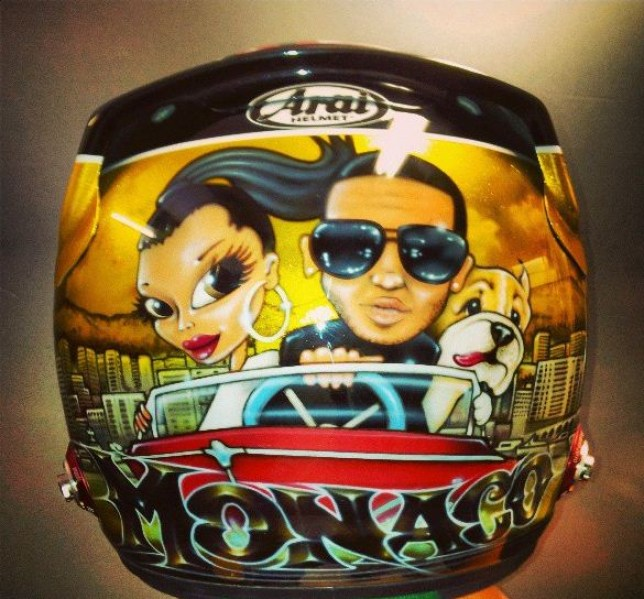 Mona-glo: Hamilton's pimped-up helmet (Picture: Instagram)