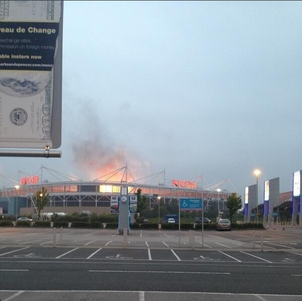 Pictures on Twitter suggested the Ricoh Arena was ablaze (Picture: Twitter)