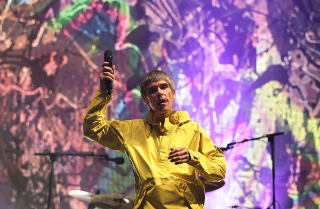 NO MERCHANDISING Ian Brown of The Stone Roses performing on the Main Stage at the Isle of Wight Festival, in Seaclose Park, Newport, Isle of Wight. PA Wire/Press Association Images