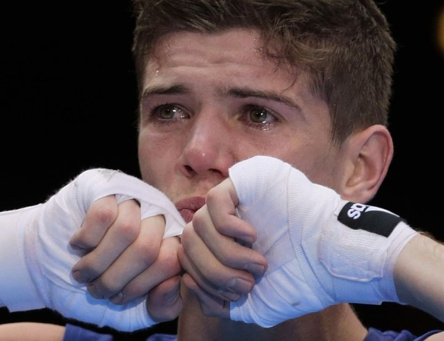 Fists of fury: A tearful Campbell wins Olympic gold in London last summer (Picture: AP)