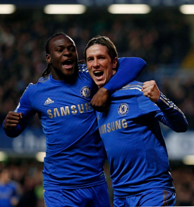 "Chelsea's Fernando Torres (R) celebrates his goal against Aston Villa with teammate Victor Moses during their English Premier League soccer match at Stamford Bridge in London December 23, 2012.    REUTERS/Eddie Keogh (BRITAIN - Tags: SPORT SOCCER) FOR EDITORIAL USE ONLY. NOT FOR SALE FOR MARKETING OR ADVERTISING CAMPAIGNS. NO USE WITH UNAUTHORIZED AUDIO, VIDEO, DATA, FIXTURE LISTS, CLUB/LEAGUE LOGOS OR ""LIVE"" SERVICES. ONLINE IN-MATCH USE LIMITED TO 45 IMAGES, NO VIDEO EMULATION. NO USE IN BETTING, GAMES OR SINGLE CLUB/LEAGUE/PLAYER PUBLICATIONS"