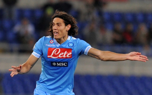 Napoli's striker Gomez Edinson Roberto Cavani reacts reacts during the Italian Serie A football match AS Roma vs Napoli at the Olympic stadium on May 19, 2013 in Rome. AFP PHOTO / TIZIANA FABITIZIANA FABI/AFP/Getty Images