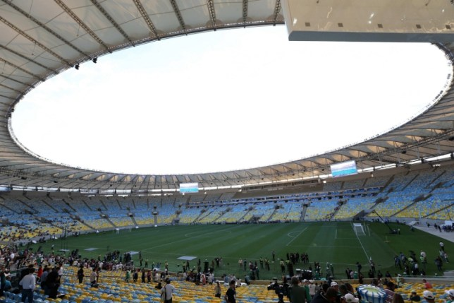 epa03724225 (FILE) A file photograph dated 27 April 2013 shows a general view of the newly open Maracana stadium, in Rio de Janeiro, Brazil. Reports on 30 May 2013 state that the international friendly soccer match between Brazil and England, due to be played on 02 June 2013, has been suspended following a court order over stadium safety concerns.  EPA/MARCELO SAYAO