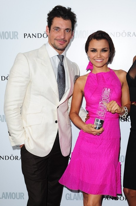 David Gandy, Samantha Barks with the Pandora Breakthrough award, and Jourdan Dunn at the 2013 Glamour Women of the Year Awards in Berkeley Square, London. PRESS ASSOCIATION Photo. Picture date: Tuesday June 4, 2013. See PA story SHOWBIZ Glamour. Photo credit should read: Ian West/PA Wire