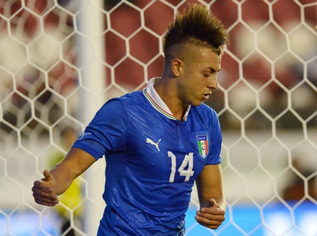 Italy's forward Stephan El Shaarawy reacts the during friendly football match against Haiti at Rio de Janeiro's Sao Januario stadium on June 11, 2013.     AFP PHOTO / VINCENZO PINTOVINCENZO PINTO/AFP/Getty Images
