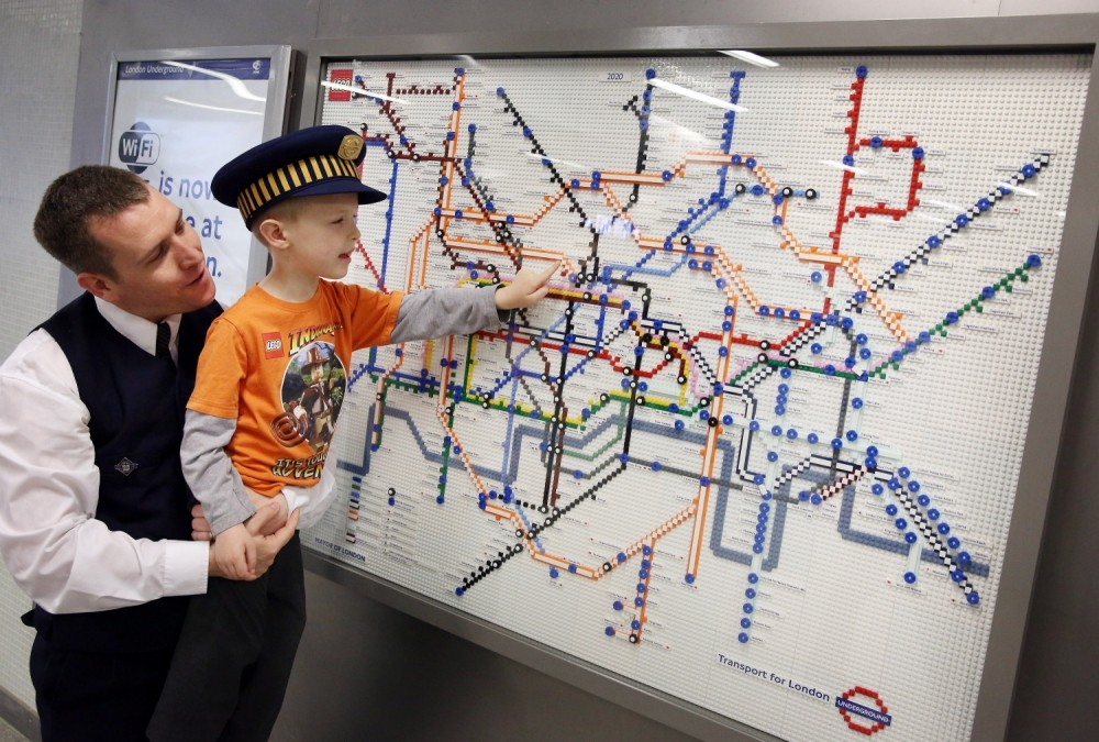 London Underground maps of Lego on display on the Tube