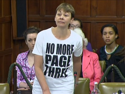 Green Party MP Caroline Lucas in Page 3 T-shirt Parliament protest