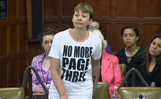 Green Party MP Caroline Lucas in Page 3 T-shirt protest in Commons