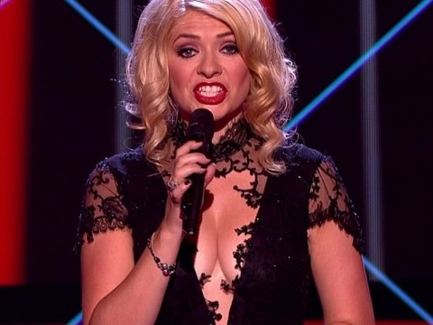Holly Willoughby makes a boob of herself as she announces 'winner of The Voice 2003'