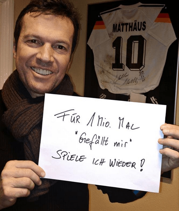 Back to his roots: Matthaus makes his online pledge to don his boots again